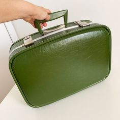 1950s 60s small hardtop suitcase just listed in Etsy. It's little, just big enough for overnight travel or child size. Looks like it was never used… tap photo for the interior. 🧳