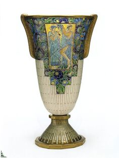 Auguste Heiligenstein (1891-1976), Enamel Decorated Glass Vase.