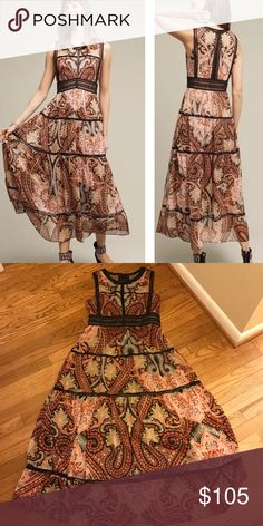 """Anthropologie Claudette Dress, sz 6 By Ranna Gill. NWT!  Approximate: Bust--18"""" ; waist--15"""" ; length--52"""" Anthropologie Dresses"""
