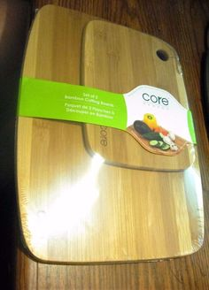 "New! Core Bamboo Set of 2 Bamboo Cutting Boards 12"" x 9"" and 8"" x 6"" Sealed…"