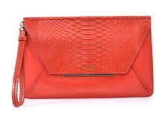 Lanvin Python and Leather Envelope Clutch