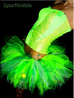 UV Tinkerbell Dance Costume $115.00...  can i MAKE this???  would be great for electric run!