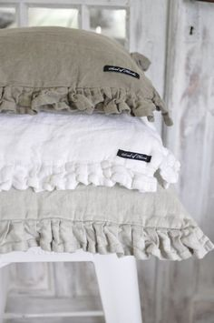 a little shabby Linen Pillows, Linen Bedding, Bed Linen, Bed Pillows, Neutral Pillows, Fluffy Pillows, Bedding Sets, Linens And Lace, Scatter Cushions