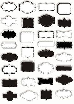 Digital Frames - Borders - Labels - PNG and JPG format - Scrapbooking, Photo Cards Etiquette Vintage, Graduation Diy, Graduation Templates, Free Photoshop, Label Templates, Album Design, Printable Labels, Wedding Album, Photo Cards