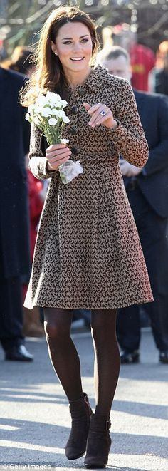 Example of how to wear ankle boots with a dress in a classy way! I Adore her style!