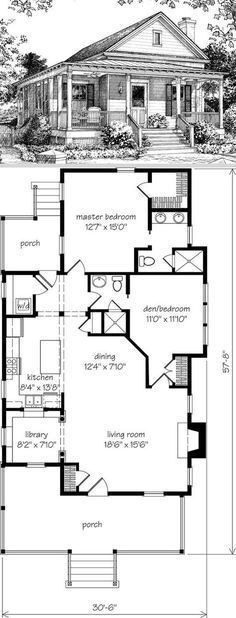 Old Pond Place 31 x 58 2 bdrms 2 baths small pantry fireplace laundry small library Southern Living house plan Enclose rear porch use extra space for mud r. Best House Plans, Small House Plans, Br House, House Bath, House Front, Southern Living House Plans, Southern Cottage, Southern Porches, Haus Am See