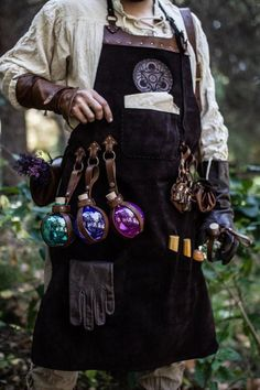 With accesories and pockets perfect for Barber - Leather Apron, larp Alchemy steampunk crazy scientist mechanics, engineers. With accesories and pock - Witch Aesthetic, Aesthetic Clothes, Aesthetic Painting, Aesthetic Outfit, Aesthetic Dark, Aesthetic Drawing, Character Design Inspiration, Mode Inspiration, Larp