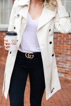 Best Neutral Trench Coat For Everyday Wear - Gucci Belt - Ideas of Gucci Belt - Gucci Pearl Double G Leather Belt City Outfits, Summer Outfits, Fashion Outfits, Europe Outfits, Summer Clothes, Gucci Marmont Belt, Authentic Gucci Belt, Work Attire, Gucci Black