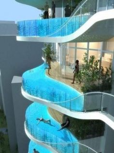 High-rise building with swimming pool, very cool but i would be kind of scared...
