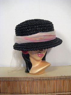 441aae62eec 1950s raffia hat with watercolor print scarf • 50s black straw hat • mid -century