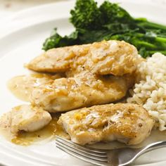 Marmalade Chicken:  Orange marmalade and freshly grated orange zest make a deliciously tangy sauce for quick-cooking chicken tenders. Serve with brown rice and steamed or sauteed broccoli rabe.