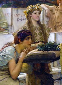 Sappho and Alcaeus (detail) by Sir Lawrence Alma-Tadema (1836-1912) - oil on panel, 1881