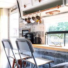 This remodeled RV has the coziest fireplace you've ever seen in a tiny home Airstream Renovation, Rv Interior, Interior Design, Modern Country, Modern Boho, Rustic Modern, Palette, Camper Makeover, Trailer Remodel