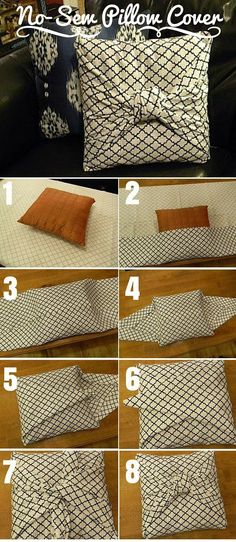 Check out the tutorial: DIY No-Sew Pillow Cover crafts decor - Easy Diy Home Decor Diy Home Decor Projects, Easy Home Decor, Handmade Home Decor, Home Crafts, Diy Crafts, Wood Projects, Sewing Pillows, Diy Pillows, Decorative Pillows