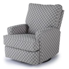 Best Chairs Kersey Upholstered Swivel Glider Recliner - Gray Geo