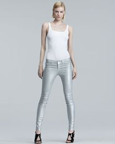 910 Sterling Sparkle Skinny Jeans by J Brand Jeans at Bergdorf Goodman. <--I need these!