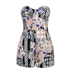 Playsuit in floral print with lace up back detail.