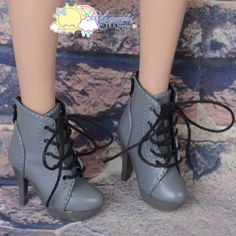 "Doll Shoes High-Heel Platform Lace-Up Ankle Boots Grey for 22"" Tonner American Model, Evangeline Ghastly, High Heel Narae Dolls"