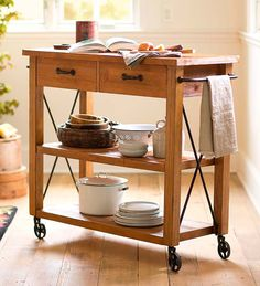 Rolling Kitchen Cart, perfect for small kitchens that don't have room for an island.