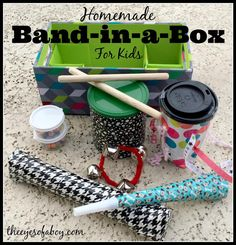 Cute gift - Homemade Band in a box for kids, instruments for toddlers - The Eyes of a Boy