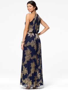 Gold Foil Halter Maxi Dress