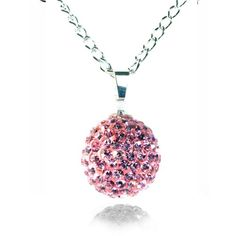 Fizzball Collection Crystal Ball Necklace Baby Pink - 4EverBling
