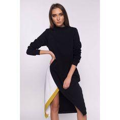 Saash.ro - Rochie neagra din bumbac pieptanat Romanian designer dress