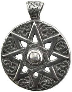 """Originating within the Sumerian city of Ur, the eight pointed star, or Star of Ur, is a powerful symbol of the Goddesses of the heavens. Has cord. Pewter. 1"""""""