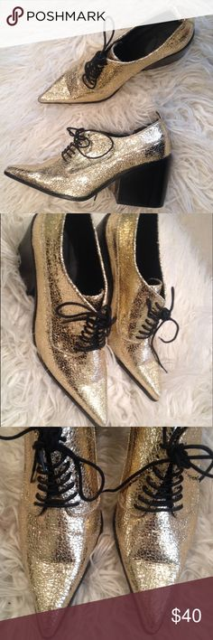 Asos  Send Him Away gold lace up heels Gold metallic finish,pointed toes and chunky heel ,super cute Oxford, it is a UK size five which is a U.S. Size 7 ASOS Shoes Lace Up Boots