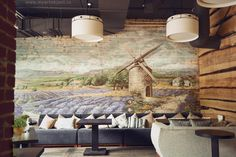 lavender field wall mural in restaurant- french provence painting on the wall - роспись в кафе во французском стиле - прованс, лавандовые поля