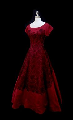 Vintage cranberry red silk 1940s gown.