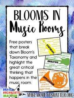 Bloom's Taxonomy in Music Rooms – Free Posters for Music Advocacy – Make Moments Matter Use these free posters to show parents, students, and administrators how music teachers use Blooms Taxonomy. Singing Lessons, Music Lessons, Singing Tips, Piano Lessons, Art Lessons, Music Classroom Posters, Music Posters, Classroom Decor, Classroom Hacks
