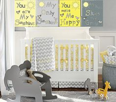You are my sunshine 8x10 art prints/ gray and yellow nursery art print/ 4 piece set on Etsy, $35.00