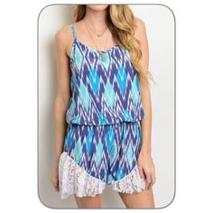 """Fun & Flirty Lacey Tribal Jumpsuit Romper S M This seasons hottest trend is a fun & flirty romper. This contrast blue tribal romper is absolutely perfect in every way. Spaghetti straps - lace trim at bottom - blouse over elastic waist is forgiving and flattering - soft lined polyester - Model wearing Small True to size  S/M M/L L/Xl - length 31"""" 💙💙💙💙💙💙💙💙💙💙💙💙💙💙💙 Styleback Pants Jumpsuits & Rompers"""