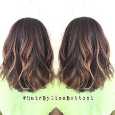 Subtle, dimensional balayage and rounded lob. @gina_bott #HairByGinaBottoni