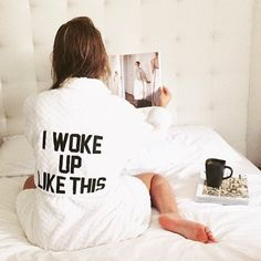 """Private Party Women's Robe """"I woke up like this"""" bath robe is to die for!! I wish I could spend every weekend wearing this! It's super soft and cozy. The quote is embroidered on back. It measures 41"""" long and is made of 100% polyester. Still has tags and it has never been opened from the plastic wrap. Easy to wash and bleach if dirty. Private Party Intimates & Sleepwear Robes"""