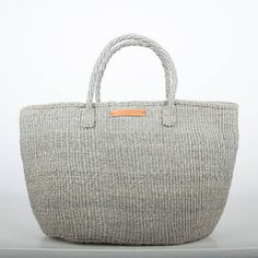 Borsa Shopper pianura Sisal grigio di TheBasketRoom su Etsy
