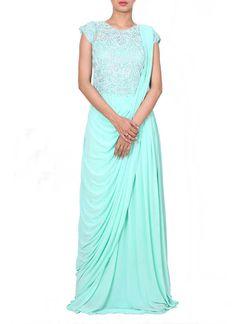 Anju Agarwal   Embroidered Aqua Drape Dress   Shop Dresses at strandofsilk.com