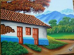 pintura Cute Canvas Paintings, Oil Pastel Paintings, Canvas Art, Pintura Exterior, South American Art, Clay Art Projects, Rock Art, House Styles, Sweet Home