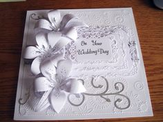 white on white wedding card I made for a friend's wedding