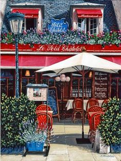 LE PETITR CHATELET    Hand-pulled Deluxe serigraph on Gesso Board  16 x 12 inches  Edition size 32 5by Liudmila Kondakova