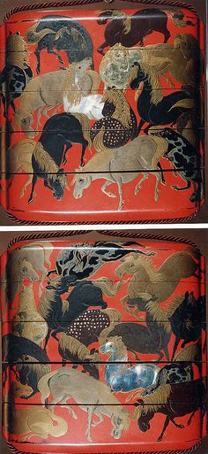 "Case (Inrô) with Design of ""The Hundred Horses""  Period: Edo period (1615–1868) Date: 18th century Culture: Japan Medium: Lacquer, red ground, gold, silver, black, brown hiramakie, raden; Interior: nashiji and fundame"