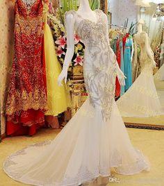 nice Custom Size Real Photo Wedding Dress Appliques Chiffon vestidos novia 2015 Free Shipping Bridal Gowns CH-2315