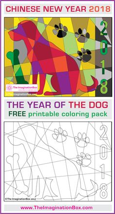 Download this Free Chinese New Year 2018 Year of the Dog coloring page printable activity pack for children. Ideal for teachers to use as an easy creative art lesson in the classroom. Makes a great bulletin board display. A poster and card template are also included in this design pack. #chinesenewyear #yearofthedog