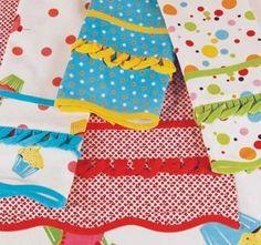 Retro Birthday Celebrate Kitchen Towels 4 Polka Dot Cupcakes Brights!