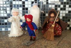 De figuren uit het boek olle op de ski's Vs, Felt, Seasons, Winter, Table, Handmade, Winter Time, Felting, Hand Made