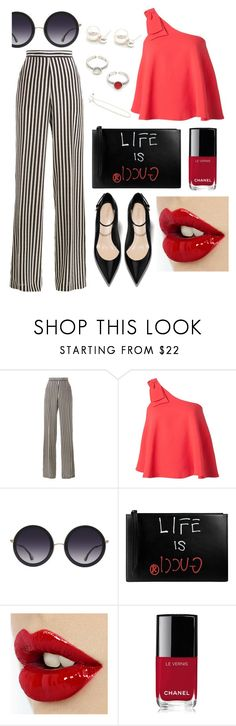 """""""Striped Pants & Classic Red"""" by oneirojewelry ❤ liked on Polyvore featuring Etro, Saloni, Alice + Olivia, Gucci and Chanel"""