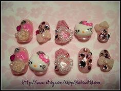 Japanese 3D Press on Nail Art  Big Hello Kitty by NailswithLove, $25.00
