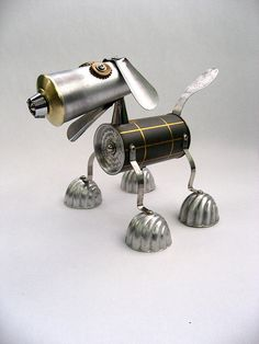 Tattoo inspiration... Ace - Robot Assemblage Sculpture by Brian Marshall