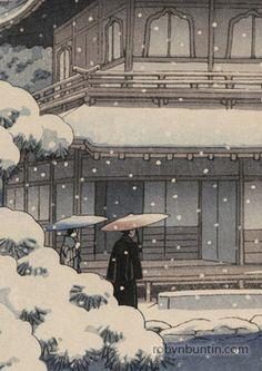 Kawase Hasui 「Snow at the Silver Pavilion」 c.1951